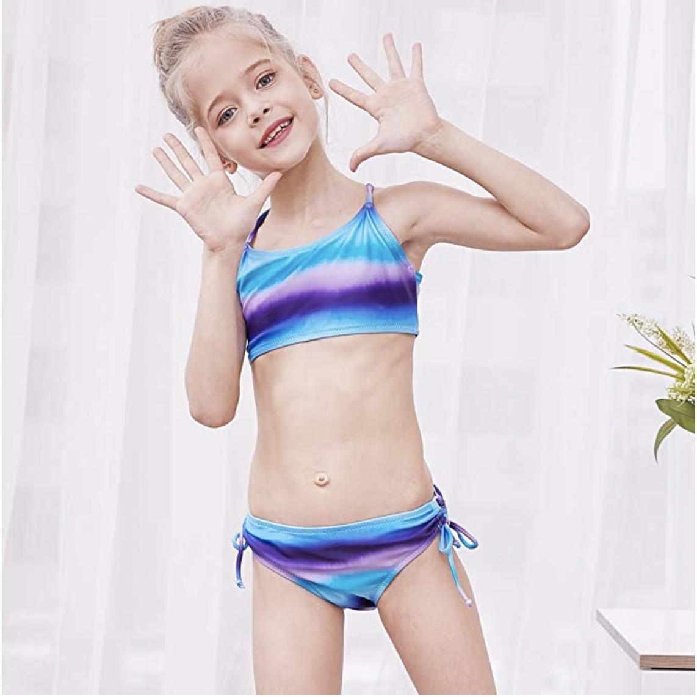 2PCS Teen Children Kids Girls Bikini Beach Swimsuit+Shorts Swimwear Set Outfits