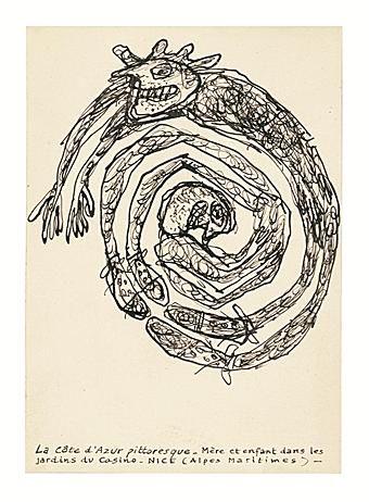 Jean Dubuffet Mere et enfant,original drawing Collection Ronny Van de Velde