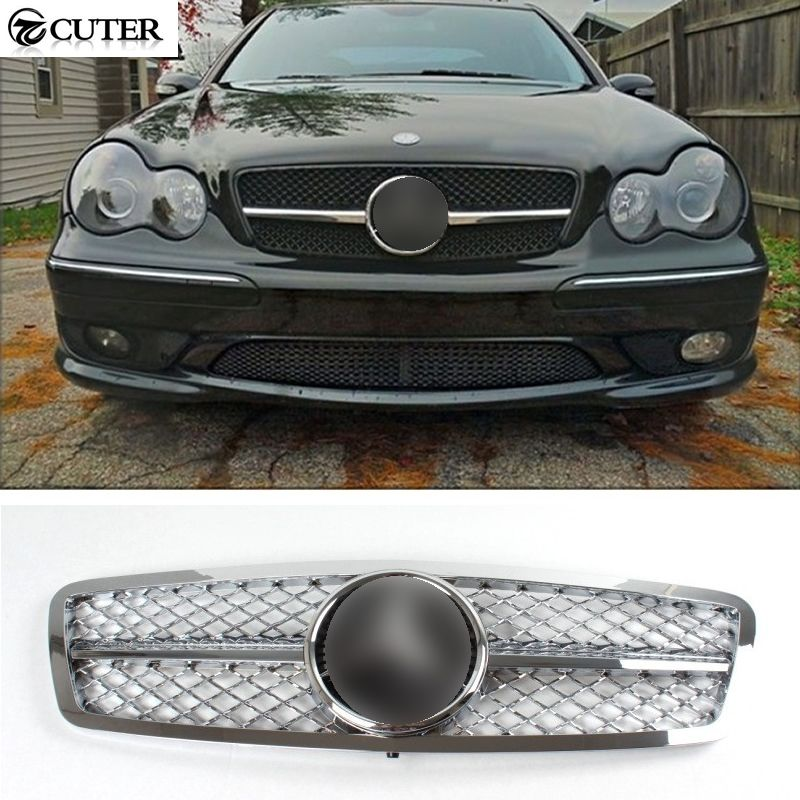 High Quality W203 C230 C240 Chromed Abs Front Grille Front Bumper Grill For Benz W203 C230 C240 C280 01 06 Benz Bmw Car Bmw