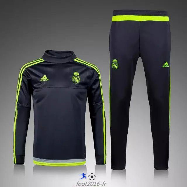 Nouveau Survetement de foot Real Madrid Noir 2015 2016 thailande ... 5bb4043a35d