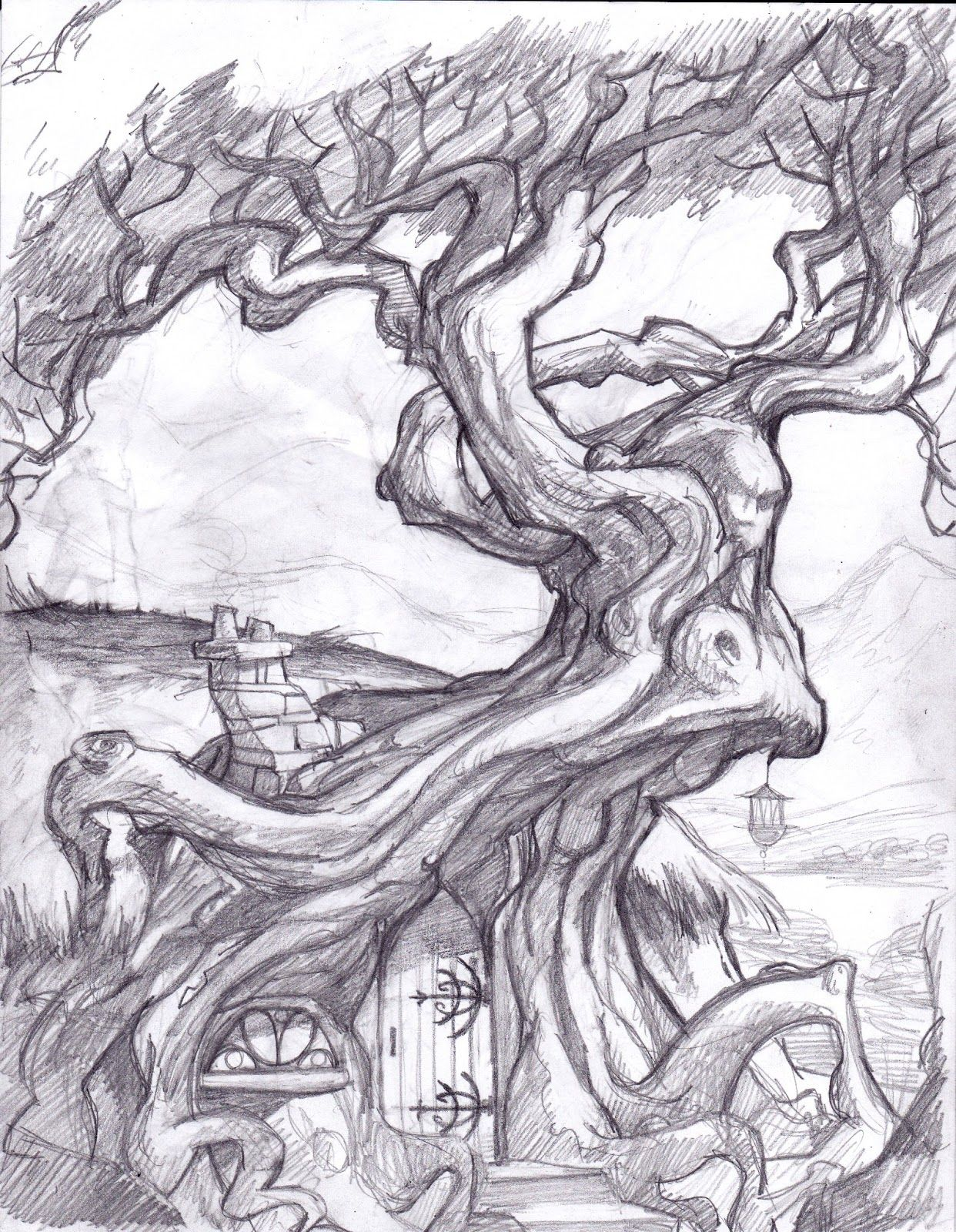 Fantasy tree drawing displaying 17 images for trippy drawings in pencil