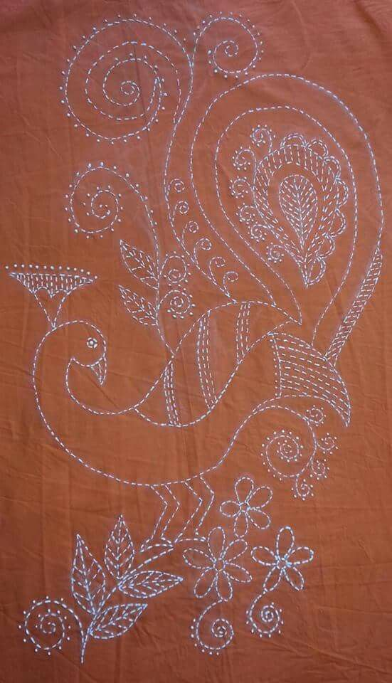 Liquid Embroidery On Kurta Embroidery N Flower Making Pinterest