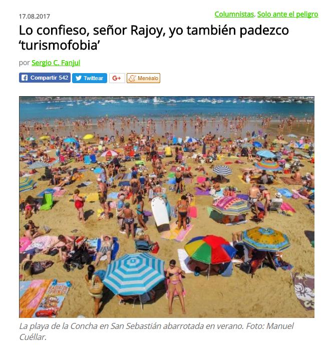 Lo confieso, señor Rajoy, yo también padezco 'turismofobia' / @elasombrario   #socialtravel