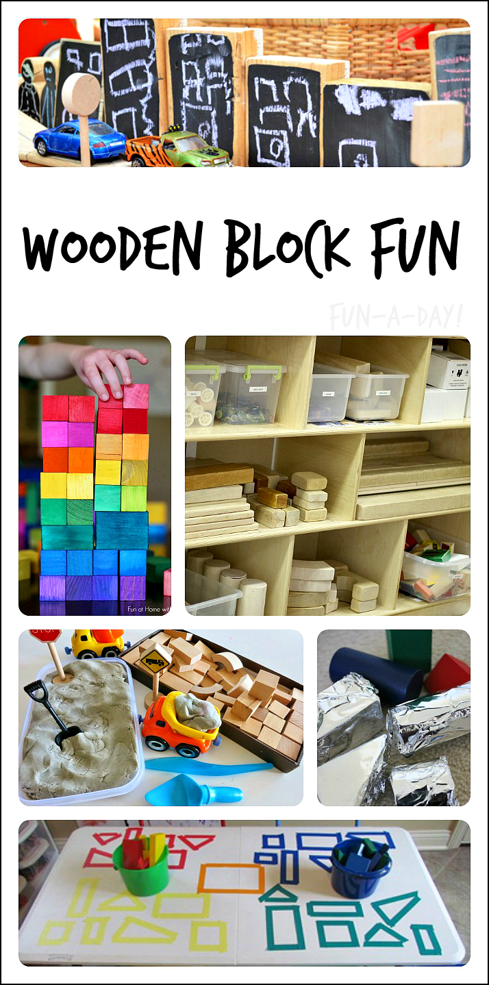 Great collection of wooden block activities for children!  Perfect for preschool, kindergarten, homeschool, and more!