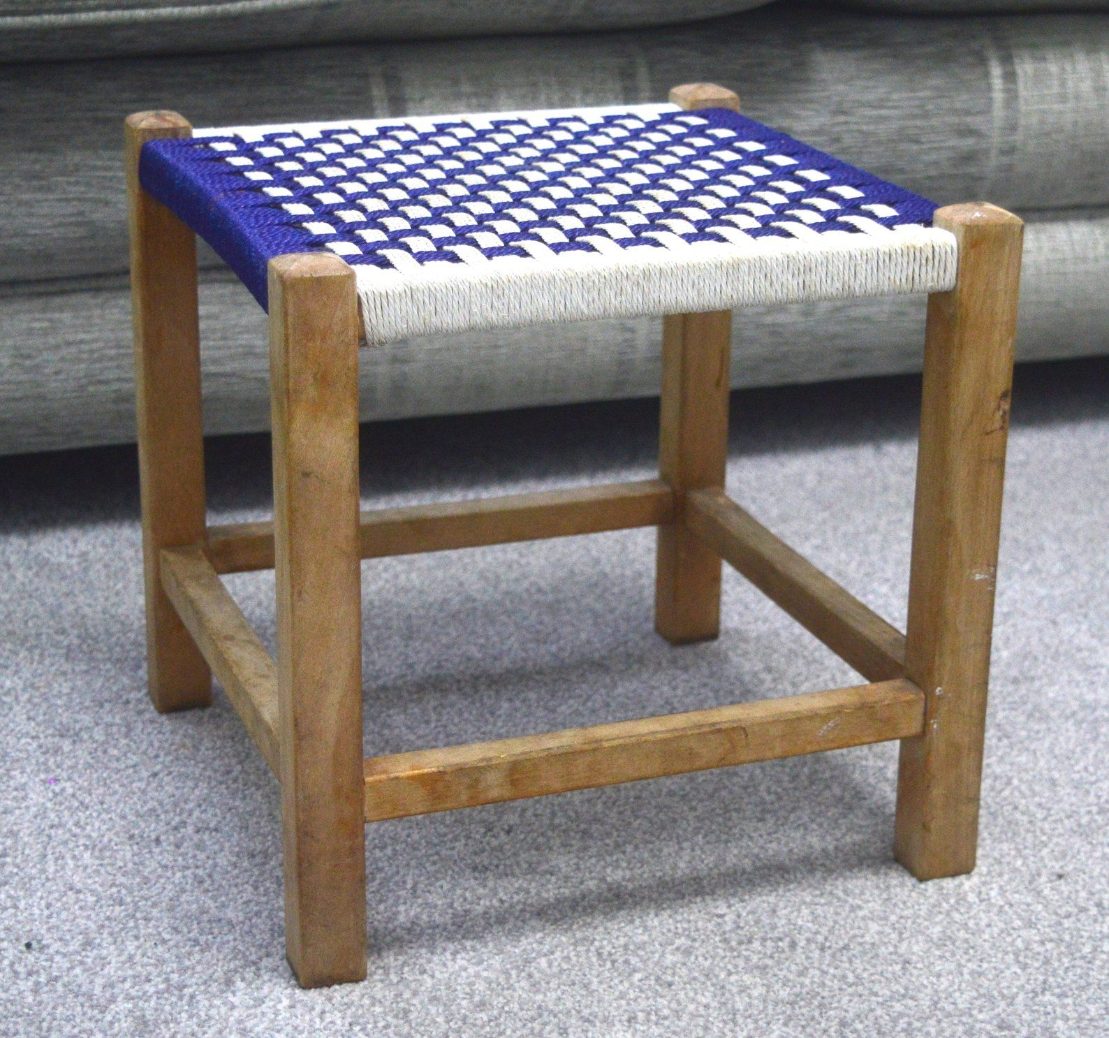 Miraculous 1970S Blue Woven Footstool Mid Century Footstool Vintage Pdpeps Interior Chair Design Pdpepsorg
