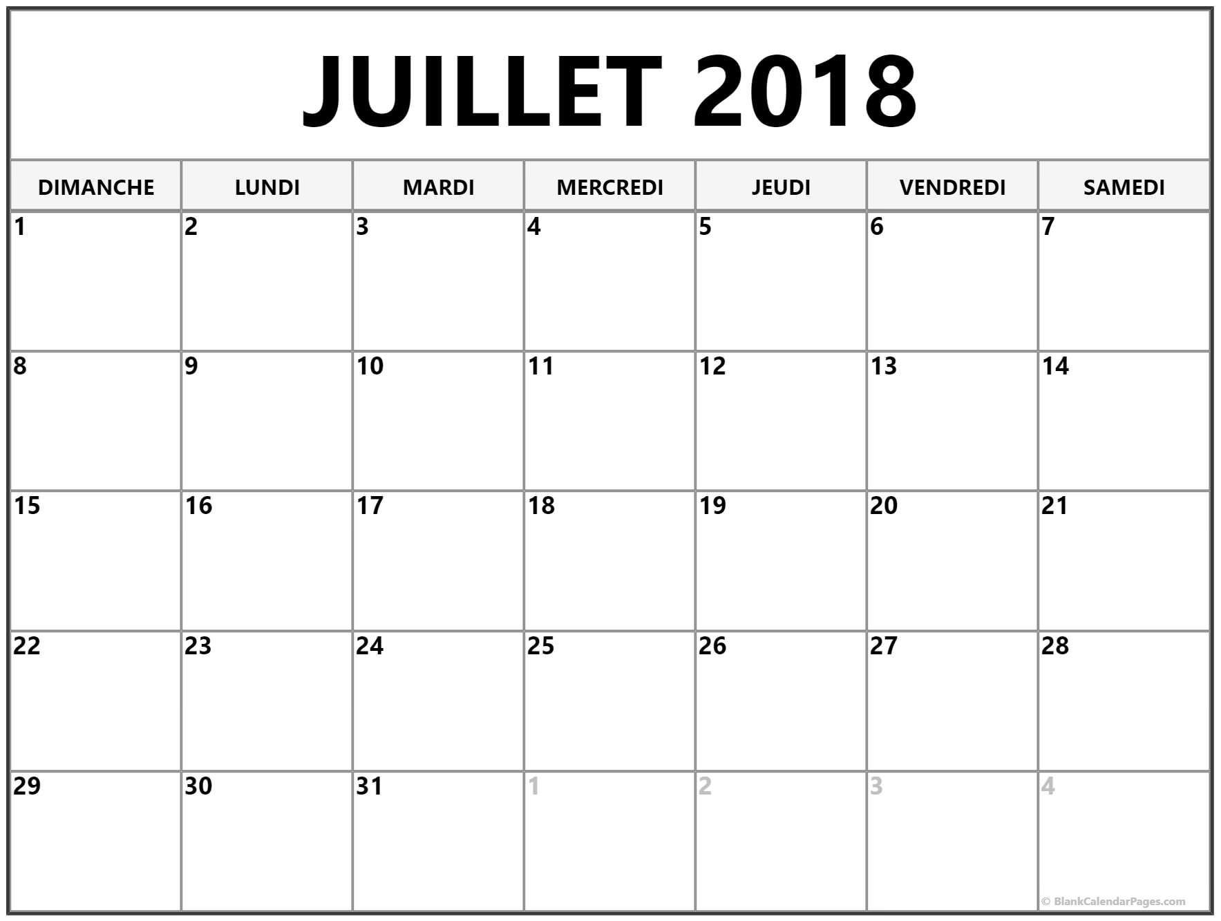 juillet 2018 calendrier imprimable gratuit calendrier imprimable pinterest calendrier. Black Bedroom Furniture Sets. Home Design Ideas