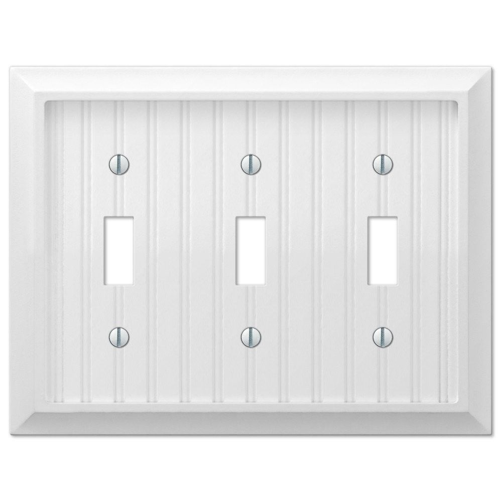 White Light Switch Plates Amerelle 279Tttw Cottage Wood White Triple Toggle Wall Light