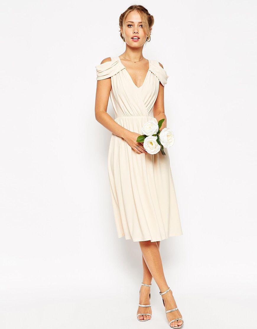 WEDDING - Robe mi-longue drapée à épaules découvertes