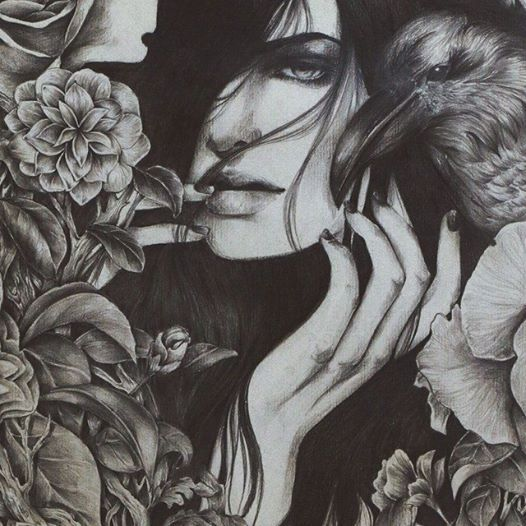 Beautiful graphite drawing 'Hide & Seek' by Art of Daryl Feril