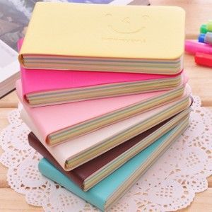 cute smiley strip mini pocket colored pages paper notebook kawaii notepad diary korean stationery office school
