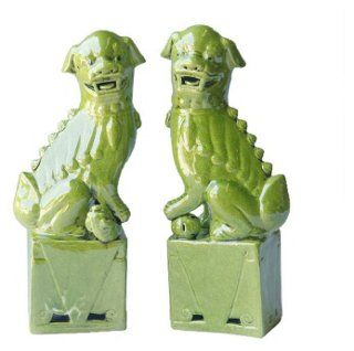 """15"""" Lime Sitting Foo Dogs, Asst. of 2"""
