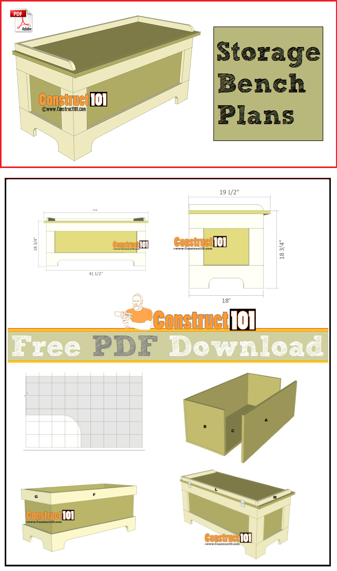 Storage Bench Plans Pdf Download Construct101 Woodworking Plans Kitchen Woodworking Plans Bench Plans