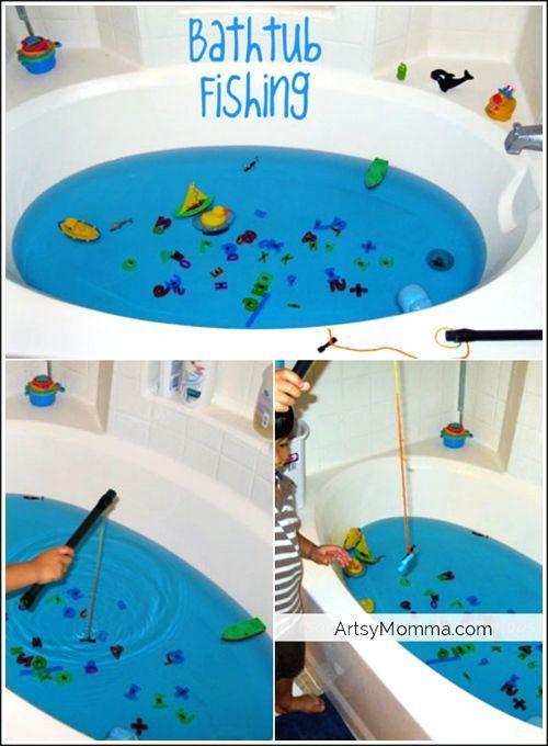 Bathtub Fishing- Make your own fishing game! - Artsy Momma