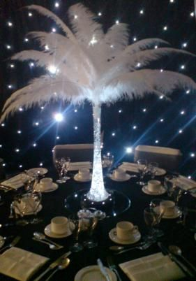 Ostrich Feather Centrepiece Hire Balloons Chair Cover Hire Wedding Parties Surrey Special Effects Lighting Feather Centerpieces Luxury Wedding Centerpieces