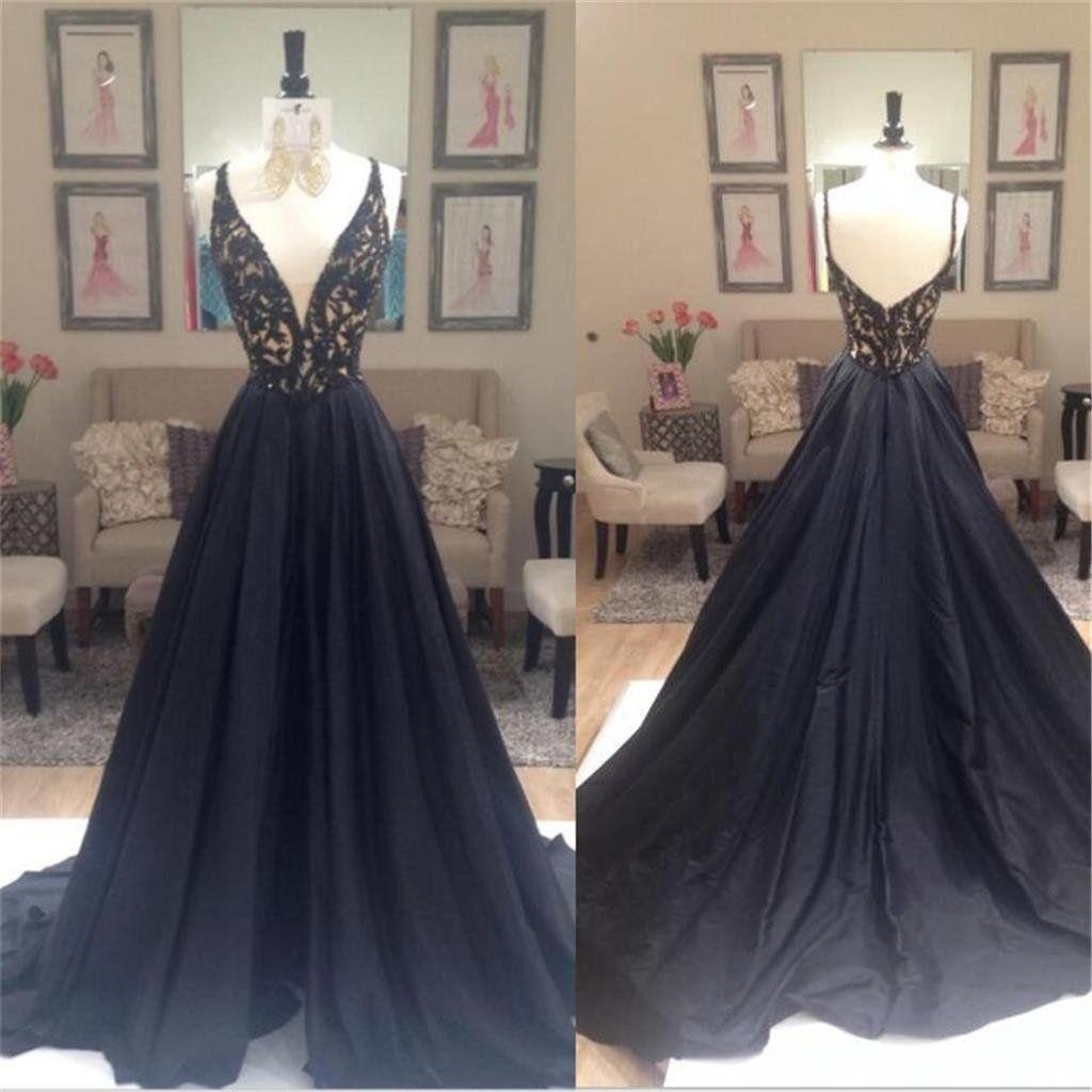 Black A-line Elegant Deep V-Neck Prom Dresses, Black Long Evening ...