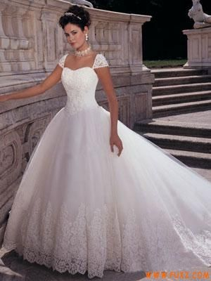 Princess Ball Gown Scoop Dropped Waist Cap Sleeves