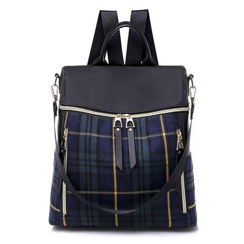 Photo of Unique Leisure Contrast Color Multi-function Canvas Backpack British Style Plaid School Bag