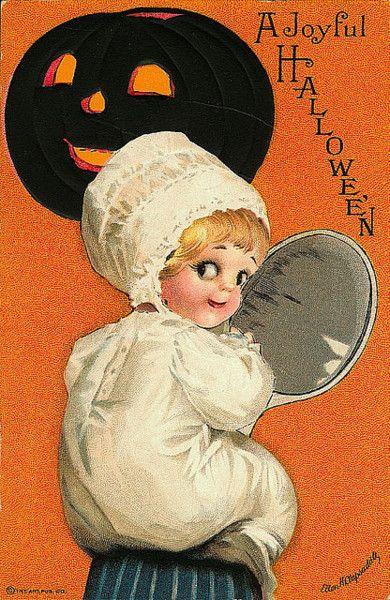 'a joyful halloween' vintage postcard
