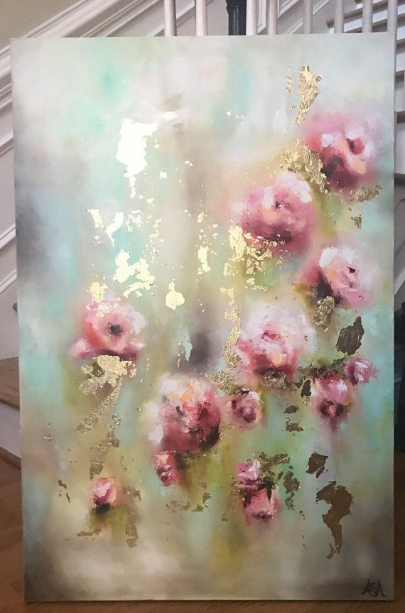 Roses And Gold Leave Fine Art Oil Paintings By Amy Abig Amyabig