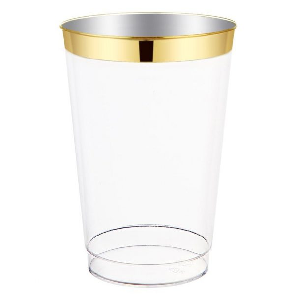 Wedding Supplies 100pack 12oz Clear Plastic Cups With Gold Rim In 2020 Disposable Wedding Cups Wedding Cups Plastic Tumblers