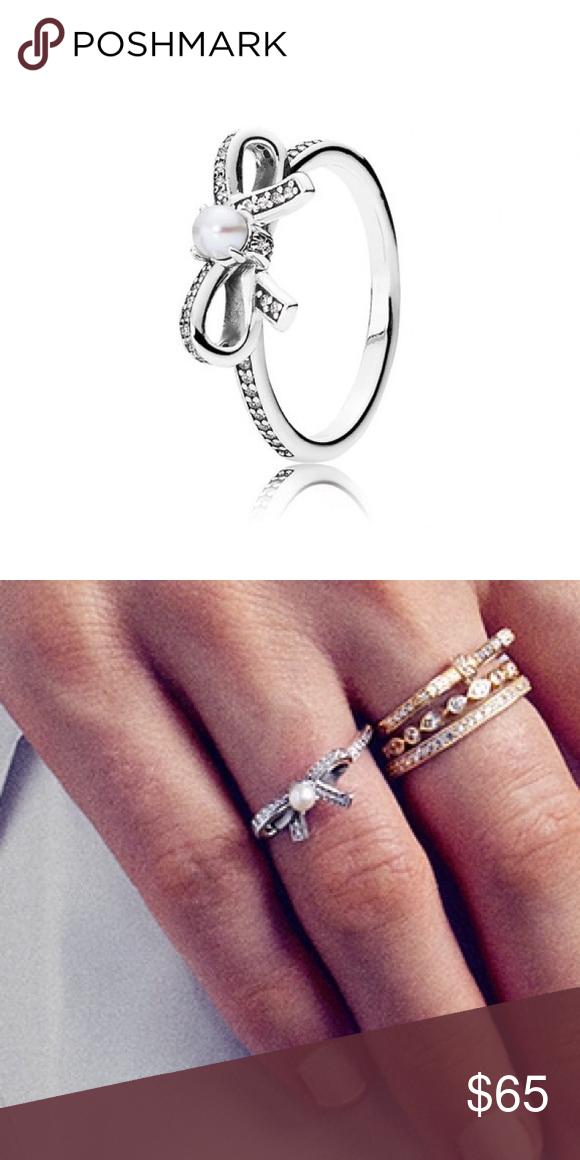 c500f55da ... greece pandora ring pandora bow ring with pearl pandora jewelry rings  55cb0 6fc39 ...