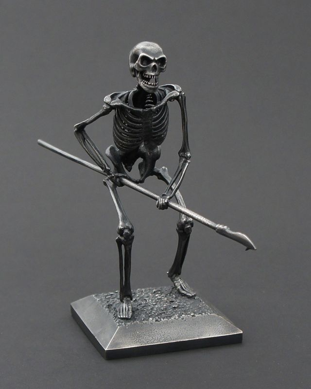 Eta Skeleton –  Barbed Spear  –   Ray Harryhausen – The Children of the Hydras Teeth. Limited Edition sculpture in silvered bronze. childrenofthehydra.co.uk
