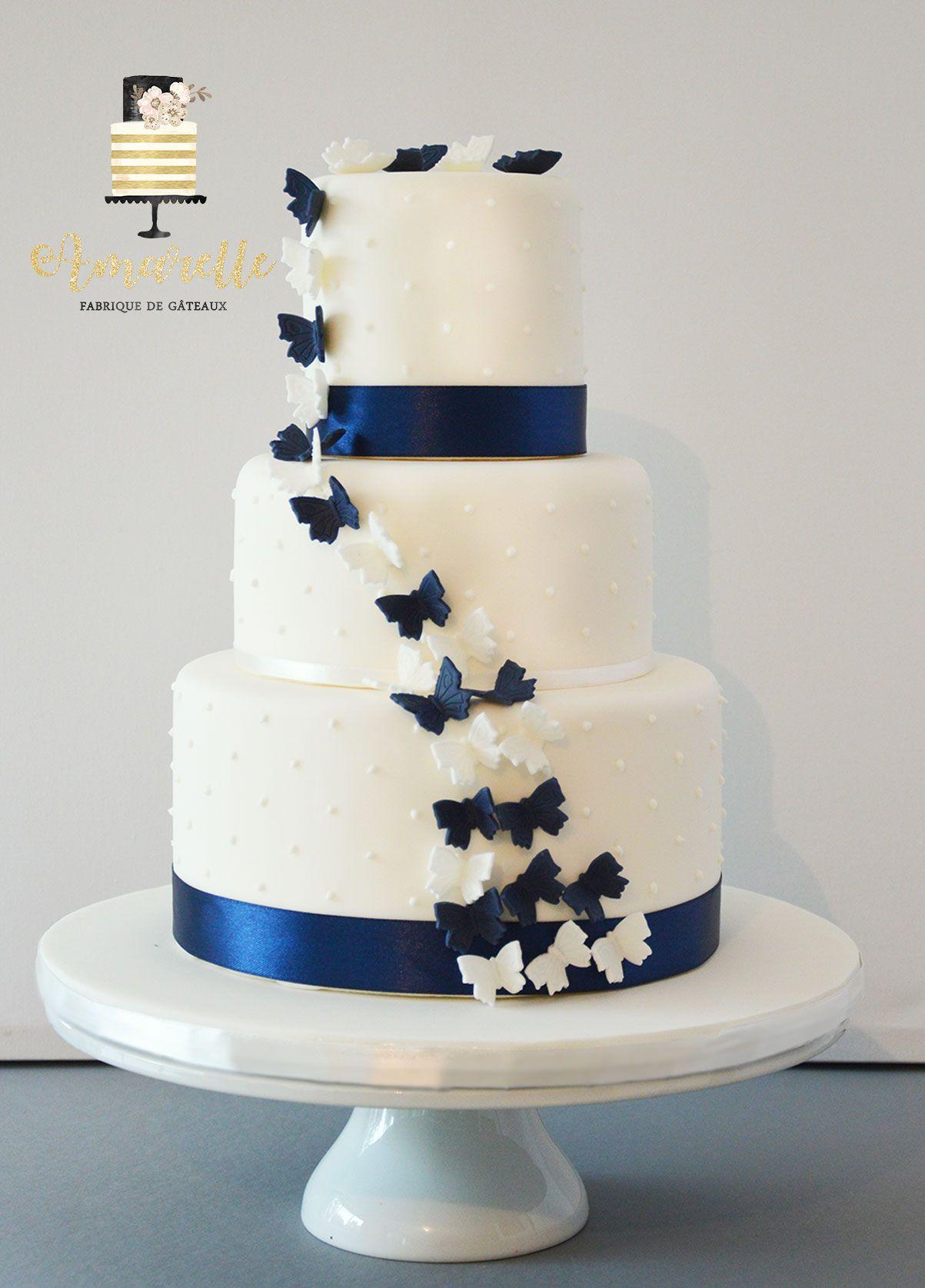 Wedding Cake Papillons Bleu Et Blanc Wedding Cake En 2019