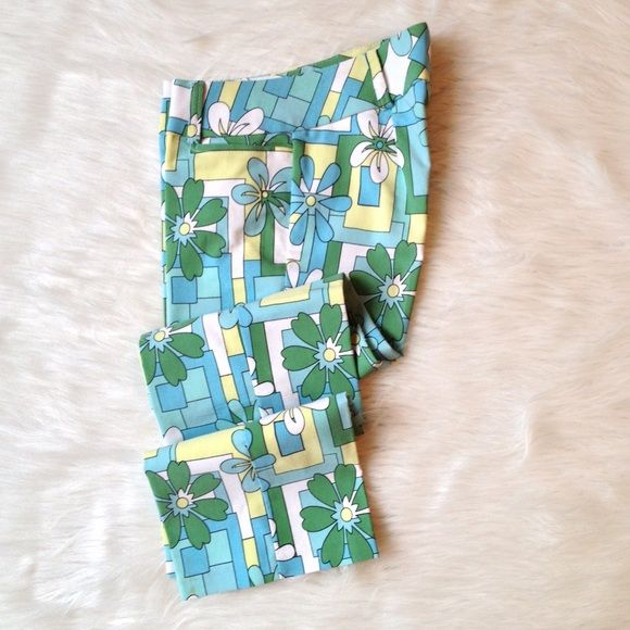 Wearever Cool Pants NWOT - Flower and Geometric Crop Pants with wide waist band with belt loops and 2 front pockets. These are the coolest pants and are low waisted. NEVER WORN and Dry Clean Only. Wearever Pants Ankle & Cropped