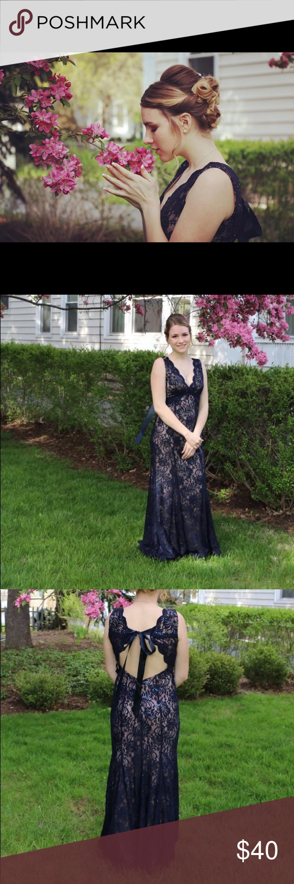 Navy blue nude lace prom dress worn only one time was not altered