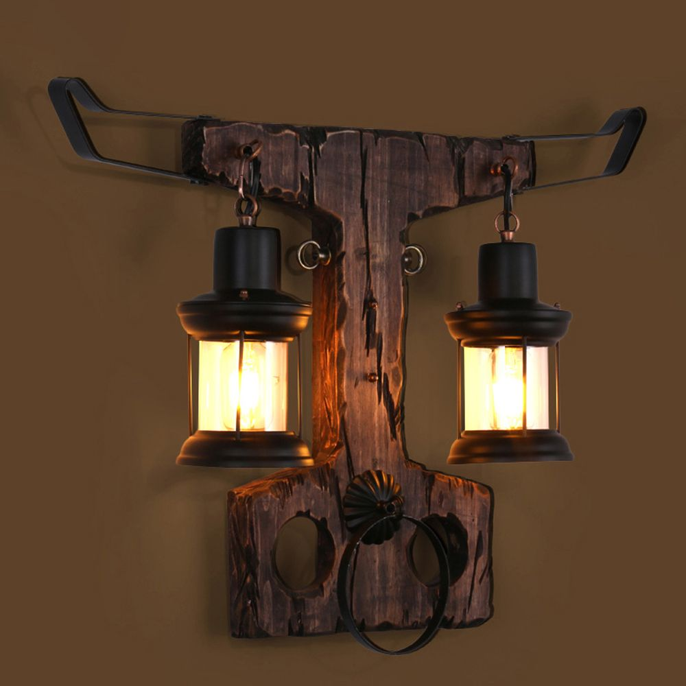 Led eloft industrial iron wood glass bull shaped led lamp led