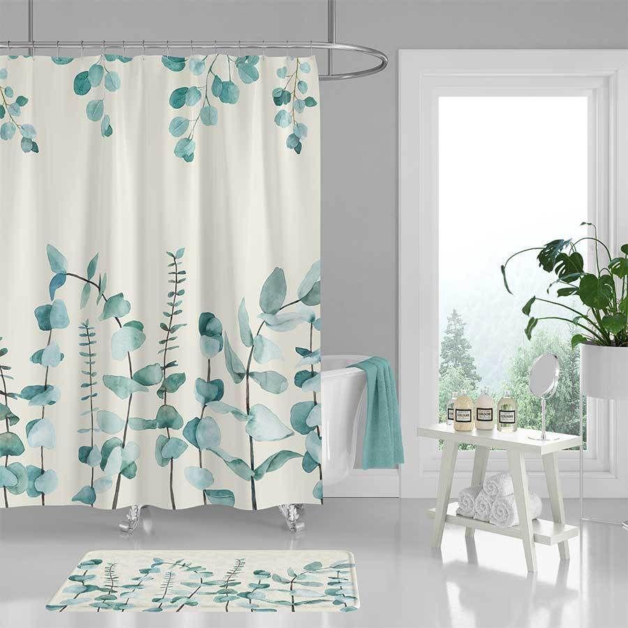 Eucalyptus Leaves Shower Curtain And Bath Mat Green Botanical