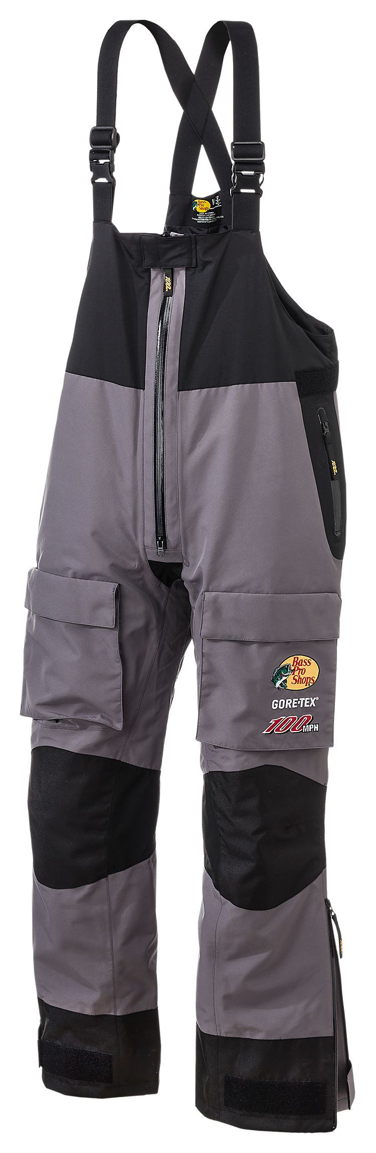 Bass pro shops 100mph gore tex rain bibs for men bass for Best ice fishing bibs