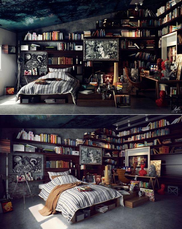 loft schlafzimmer inspiration bücherregale #bedroominspirations