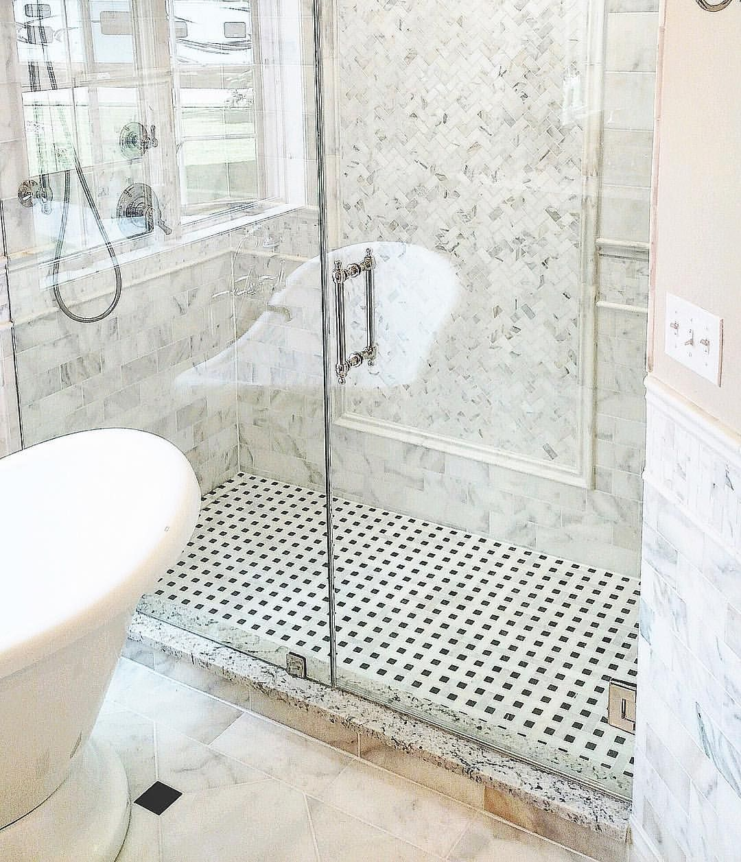 Tile Shower Ideas Marble Bathroom Ideas Herringbone Mosaic Marble Tilebuys Com Tilebuys On Instagram Shower Tile Calacatta Gold Marble Marble Bathroom