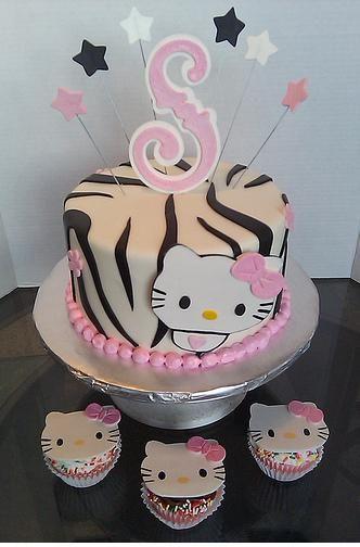 Hello Kitty Zebra Baby Shower Cake U0026 Cupcakes