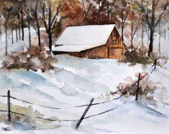 ORIGINAL Aquarell Landschaftsmalerei 6 x 8 Zoll, Winter Farm Landschaft, Land …
