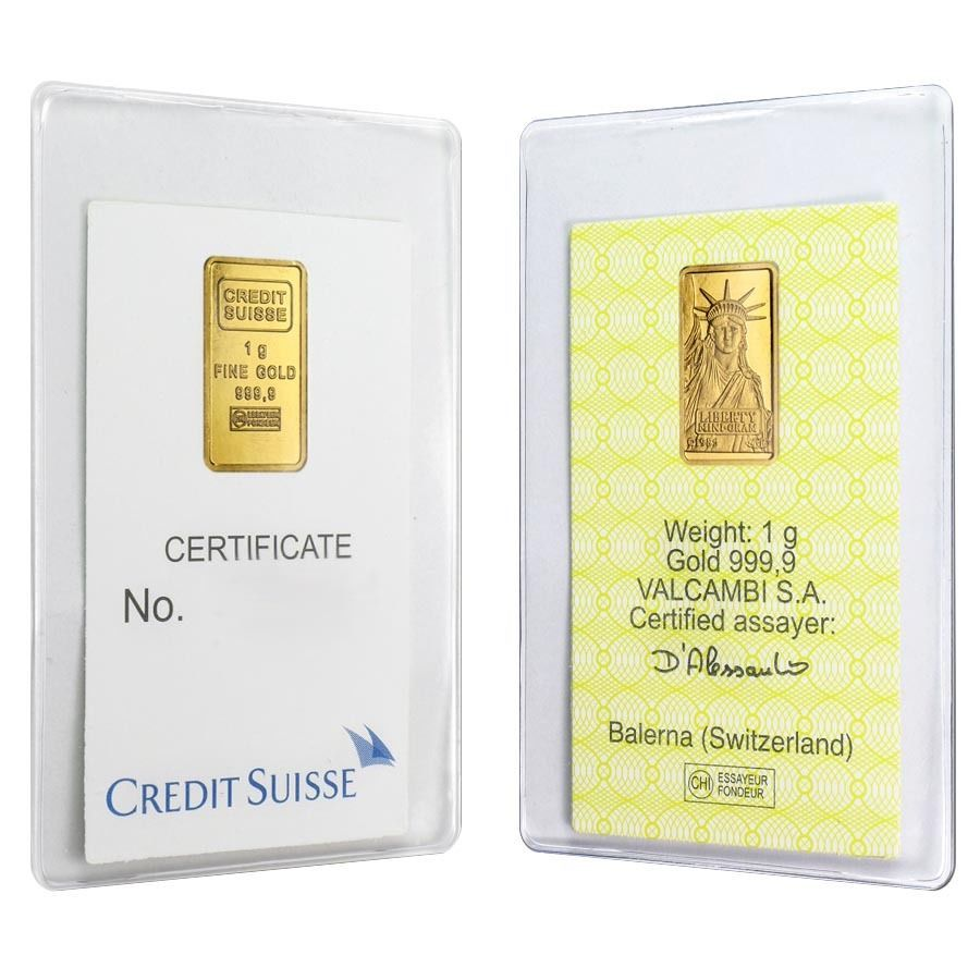 Lot Of 2 1 Gram Credit Suisse Statue Of Liberty Gold Bar 9999 Fine In Assay Gold Bar Credit Suisse Gold