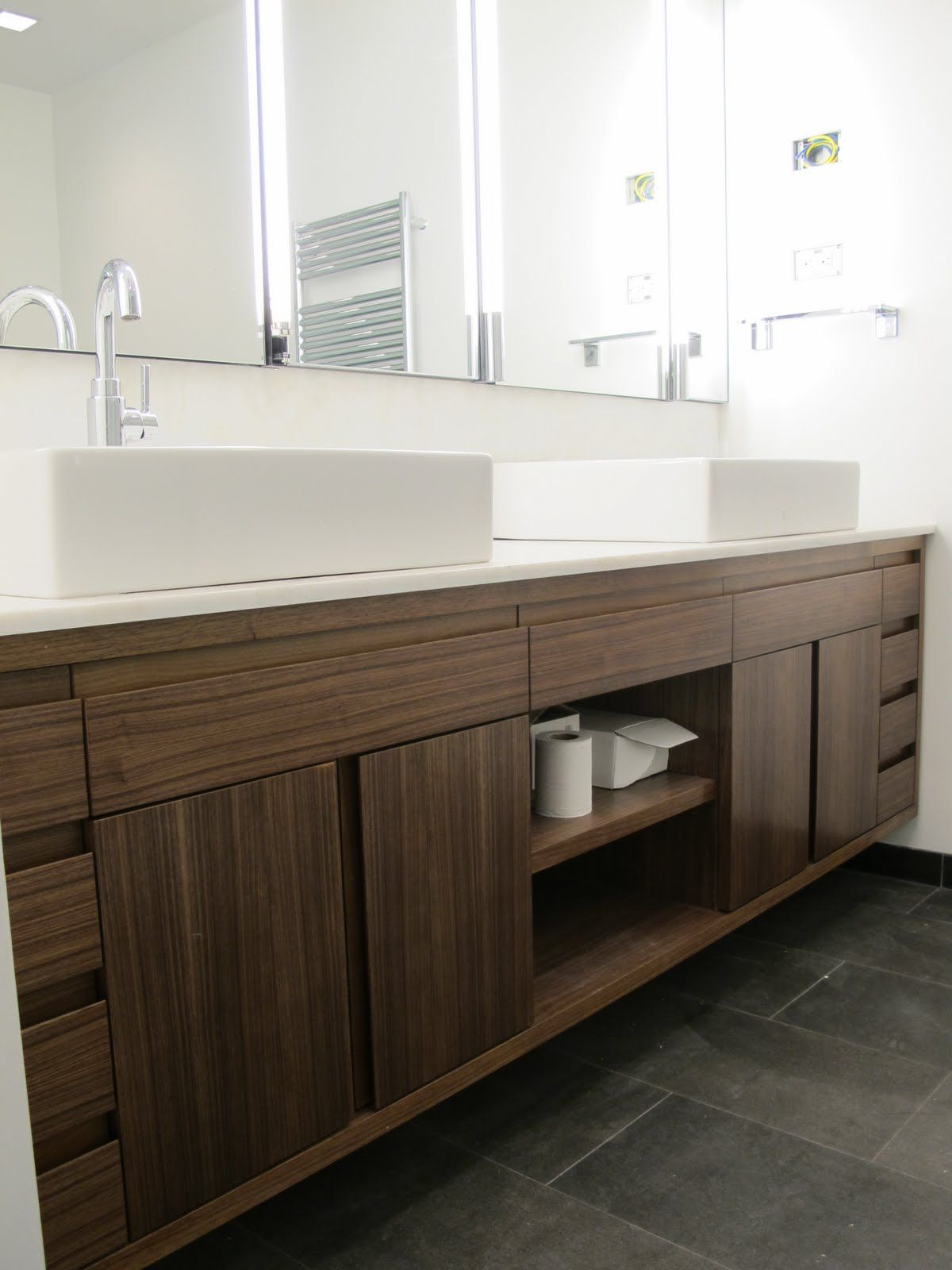 double sink vanity with center cabinet. Amazing Brown Solid Plywood Custom Floating Vanity With Storage And Cool  White Double Sink Arch
