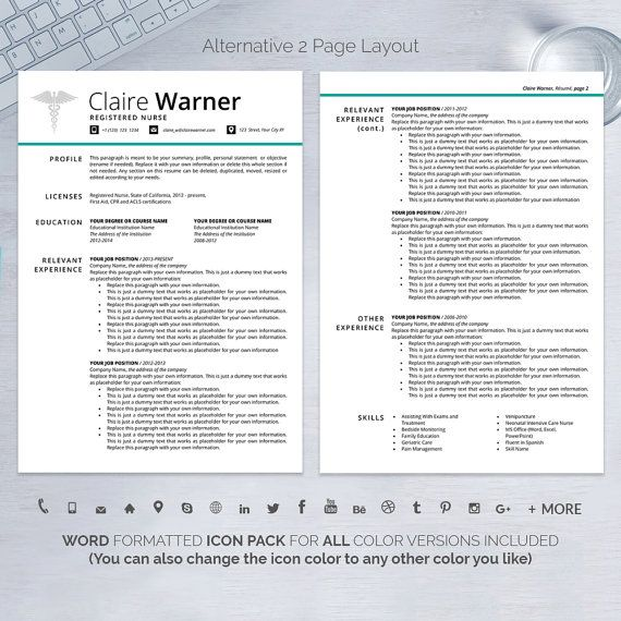 NURSE Resume Template Word Instant Download Nurse CV Template - nursing cv template