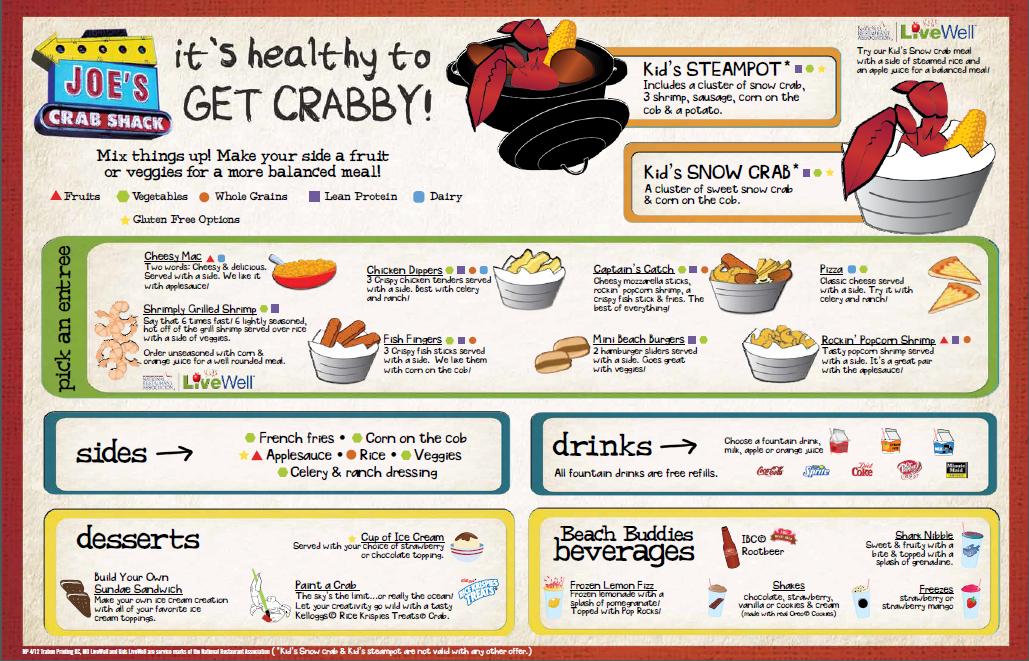 Joe's Crab Shack kids' menu Kids menu, Crab shack, Joe