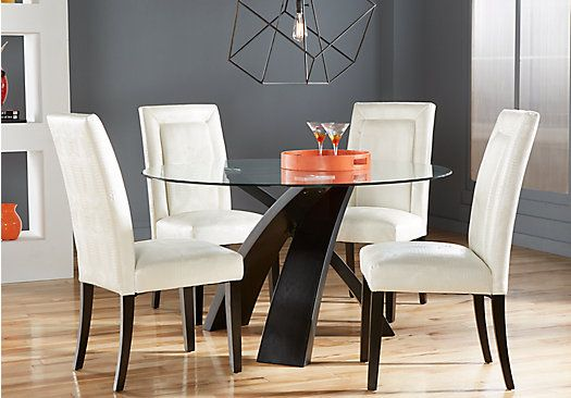 Picture Of Del Mar Ebony 5 Pc Round Dining Set From Dining Room Endearing White And Black Dining Room Sets Decorating Inspiration