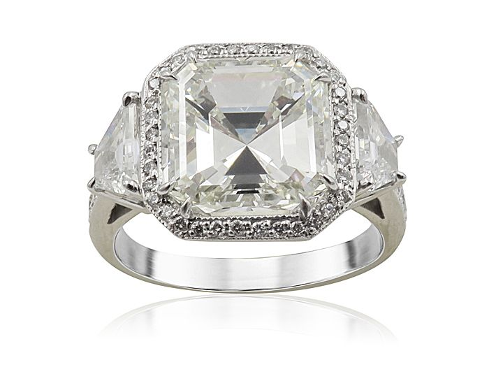 526471d9e44ec6 Joshua J. Platinum Halo Engagement Ring, Featuring a 4.01ct Asscher Diamond,  K Color, VS2 Clarity, GIA Certified, Accented with 2 Trapezoid Diamonds  =.52ctw ...