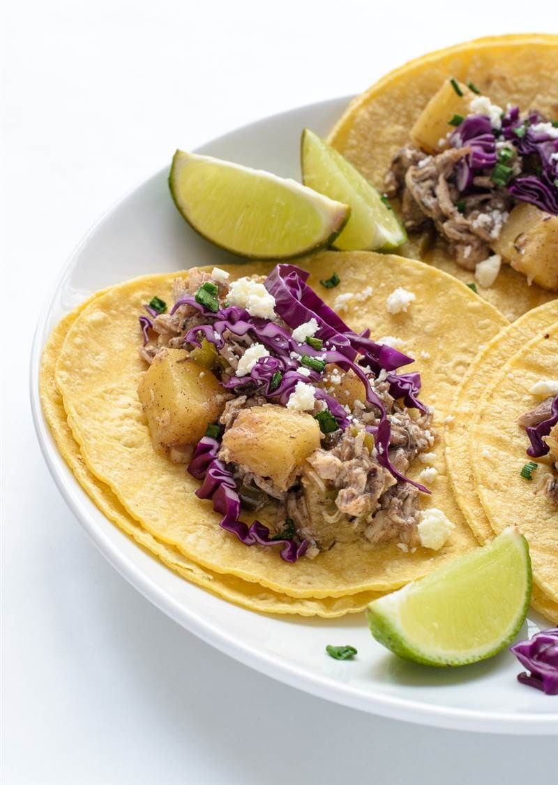 Slow cooker jerk chicken tacos
