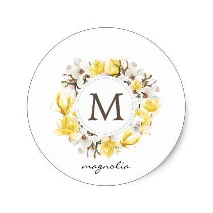 Photo of Watercolor Yellow Magnolia Wreath Monogram Classic Round Sticker   Zazzle.com