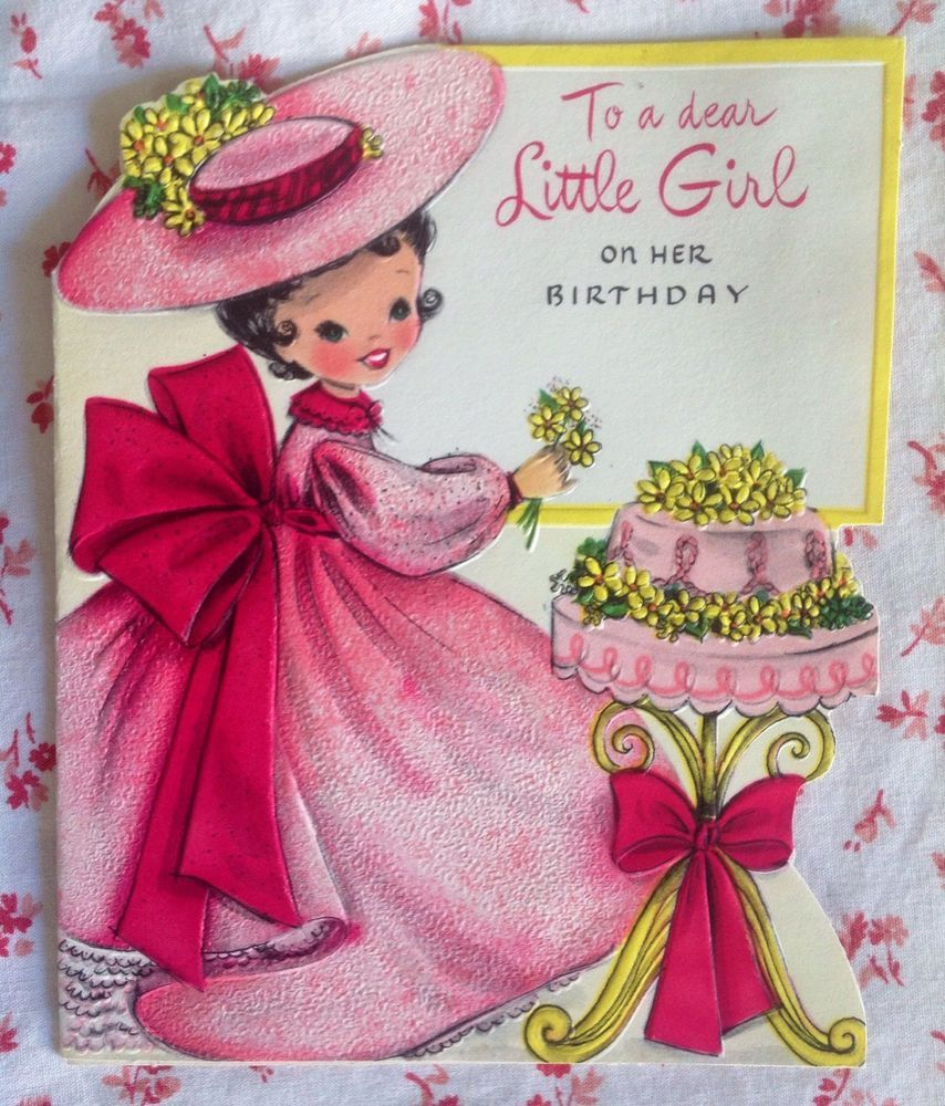 Vintage 1950s Die Cut Birthday Greeting Card Girl Old Fashioned Pink