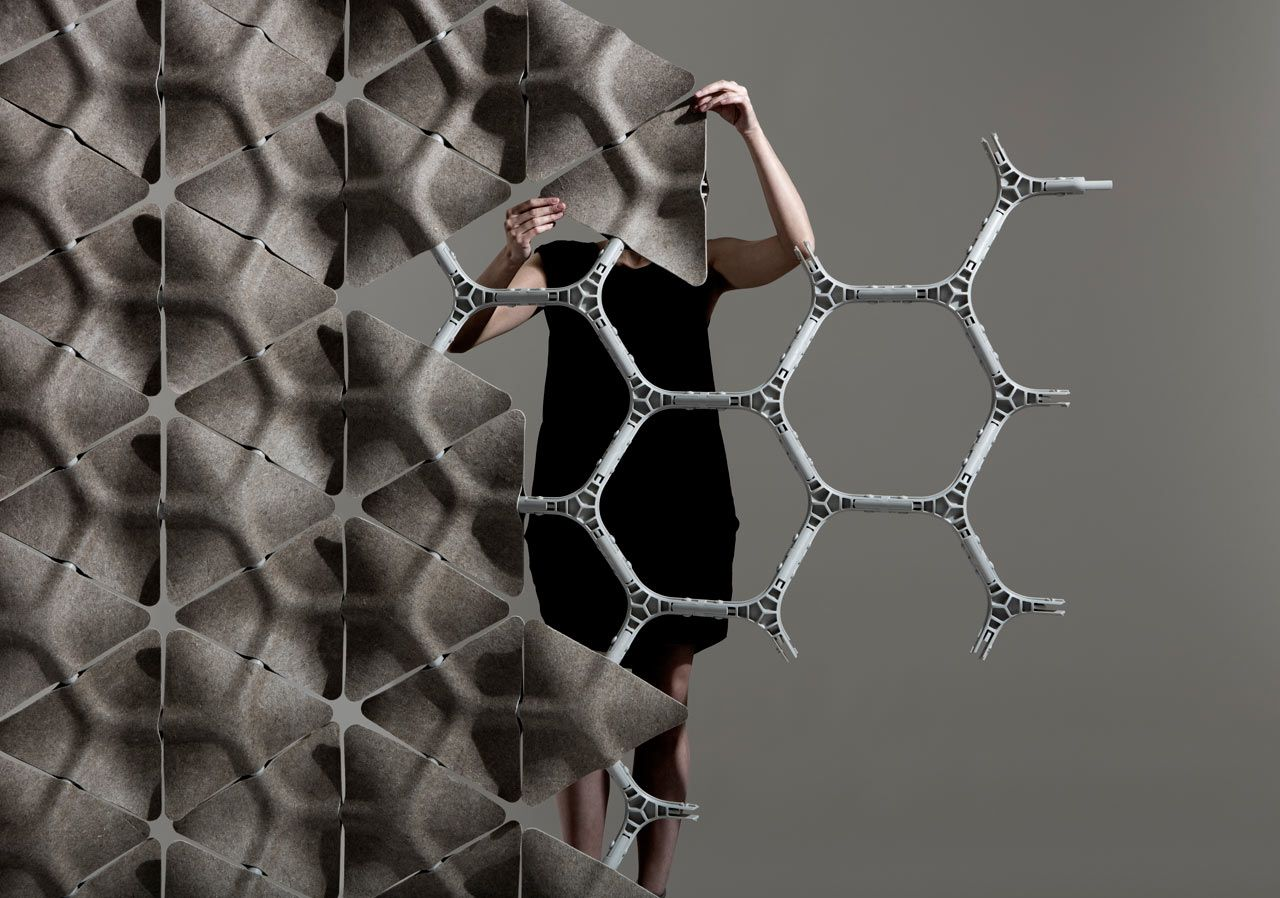 A flexible modular acoustic partition system acoustic scale and