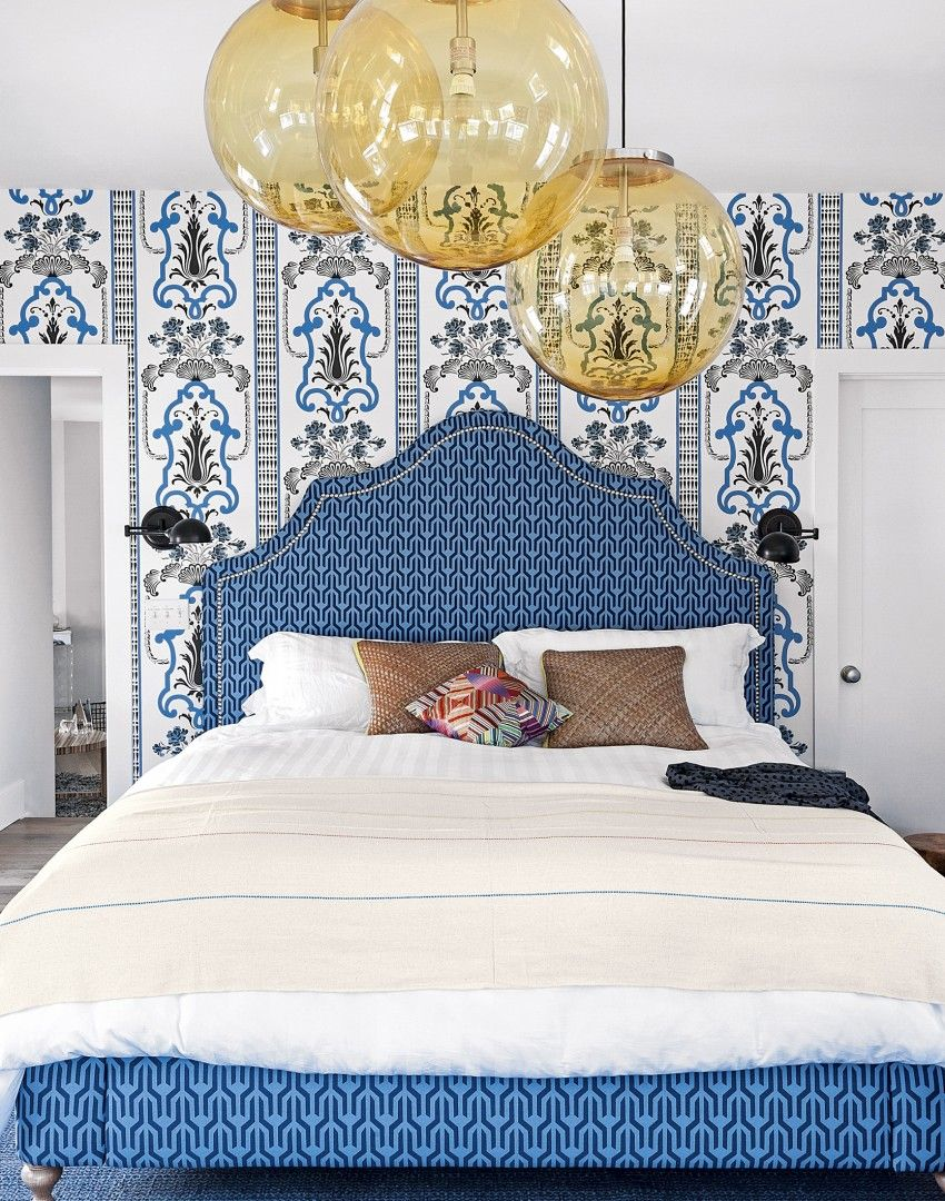 Modern Blue Graphic Bedroom with Traditional Touches