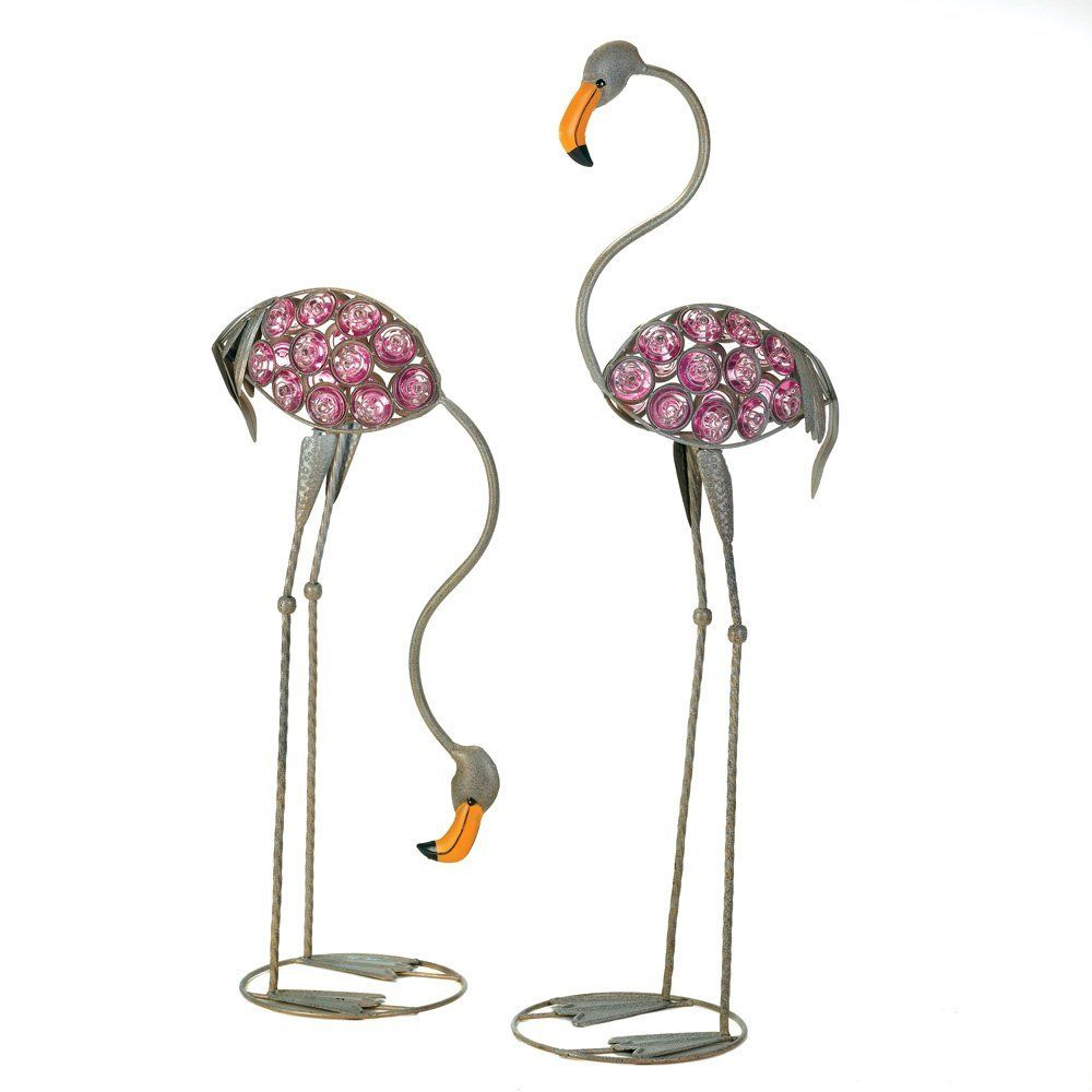 Glass Art Flamingo Statues Glam It Up With This Pair Of Fabulous Glass Art  Flamingo Statues! Modern Miami Styling Comes To Lustrous Life In Glowing  Glass ...