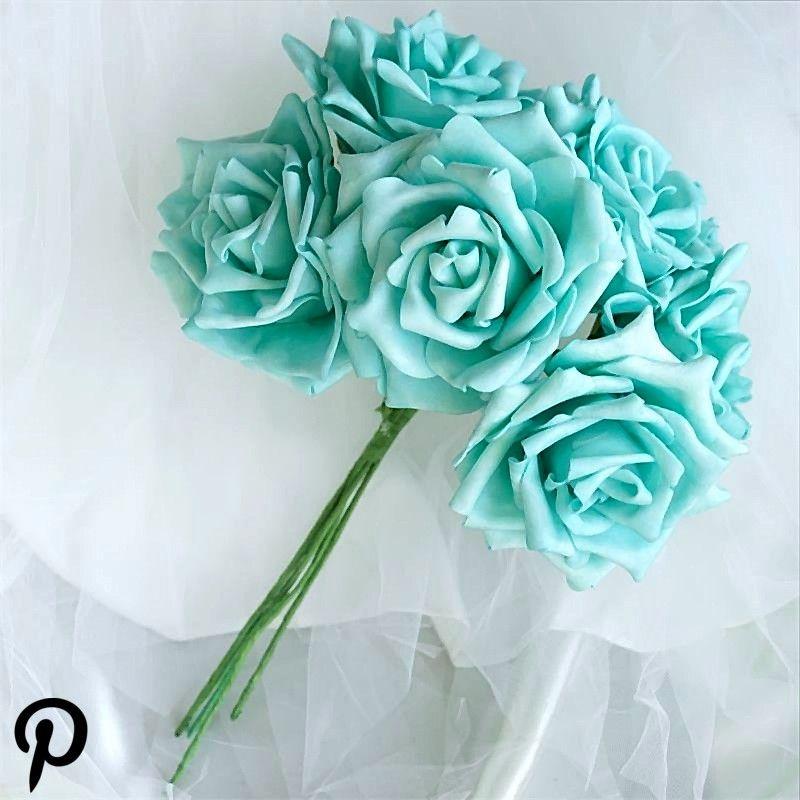 6 Pack 36 Pcs Aqua Artificial Foam Rose Flowers