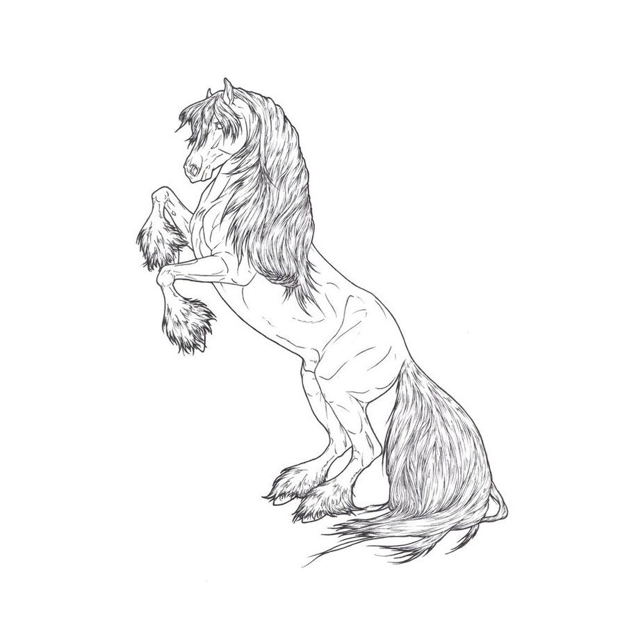 Rearing Stallion Lines by ReQuay on deviantART | Coloring Pages ...